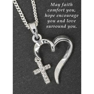 Silver Plated Entwined Heart Cross Necklace Thumbnail 1