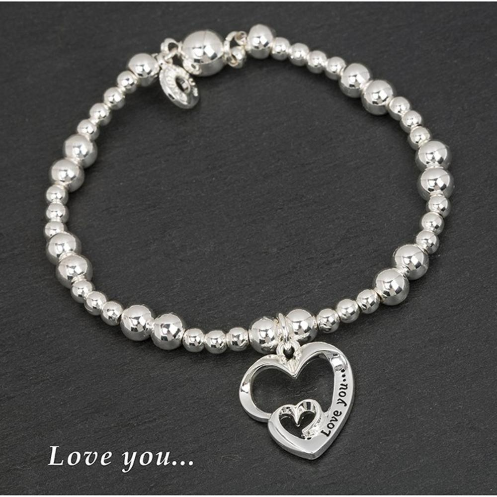 Silver Plated Double Heart Bracelet Love You
