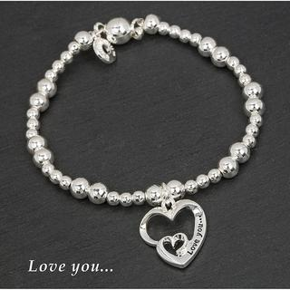 Silver Plated Double Heart Bracelet Love You Thumbnail 1