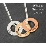 3 Tone Rings Necklace Wish It Dream It Do It