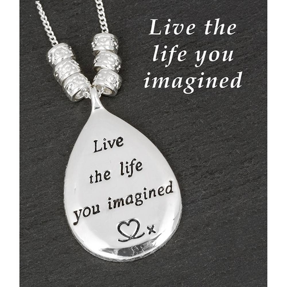 Silver Plated Message Teardrop Necklace Live