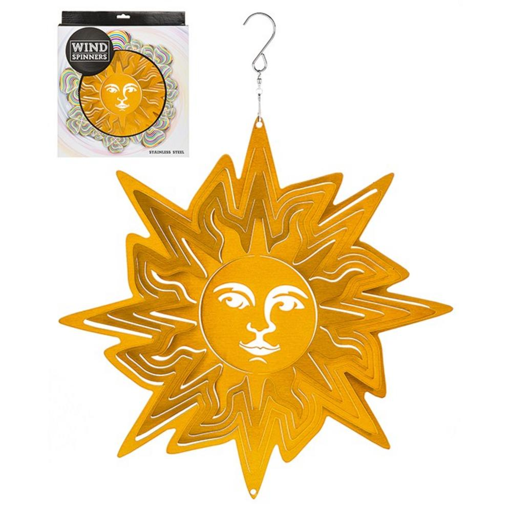 Hanging Stainless Steel Sun Catcher Wind Spinner Sun Face 12""