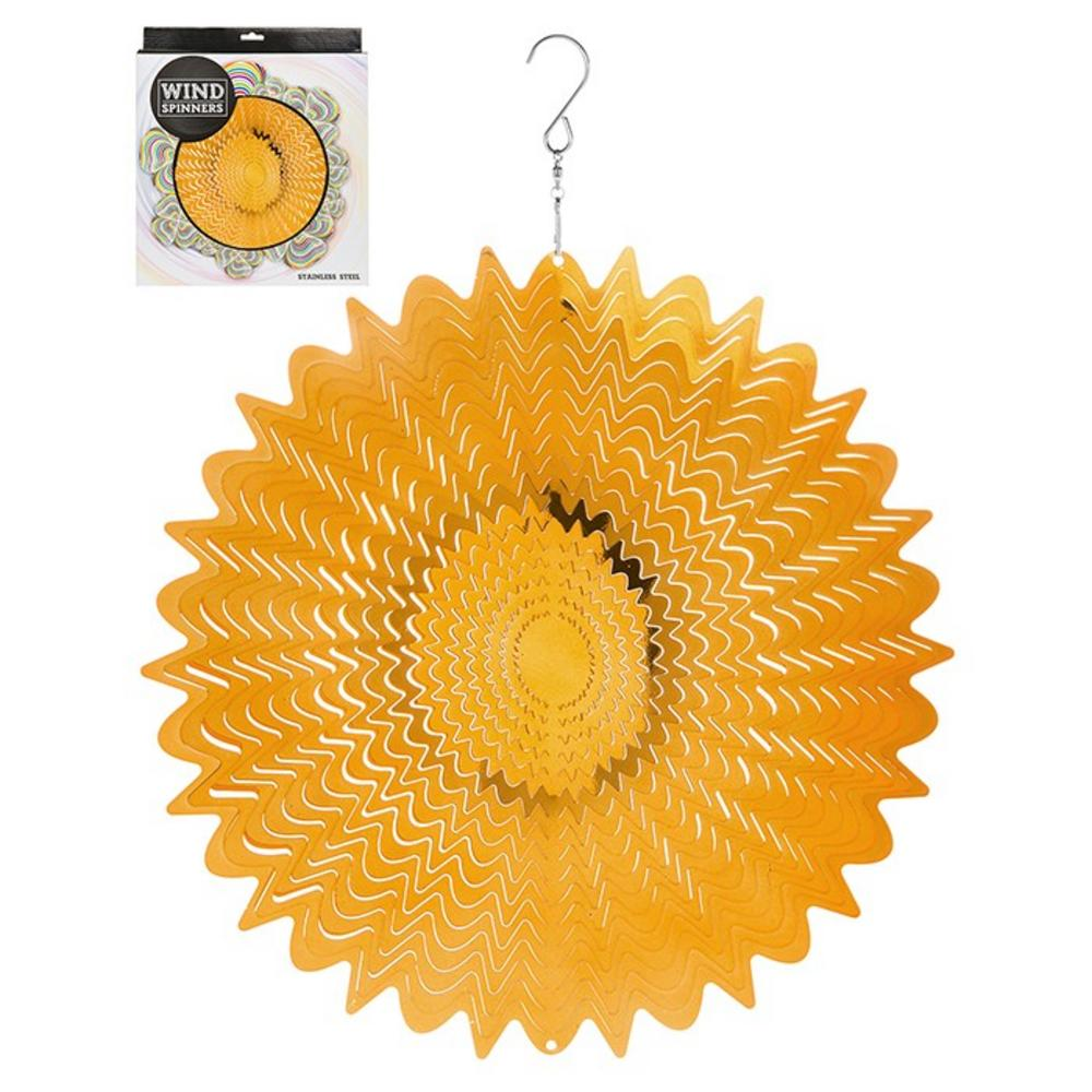 "Hanging Stainless Steel Sun Catcher Wind Spinner Gold Mirror 12"""