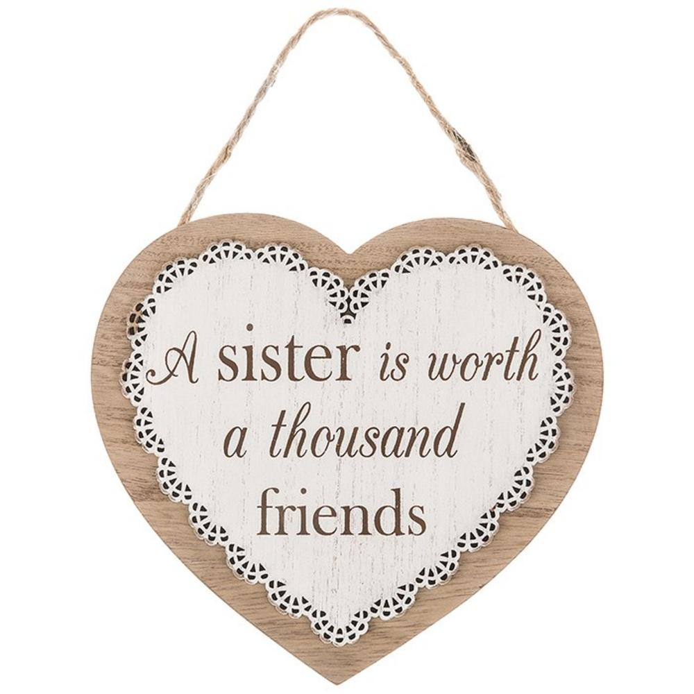 Chantilly Lace Heart plaque A Sister Is Worth A Thousand Friends