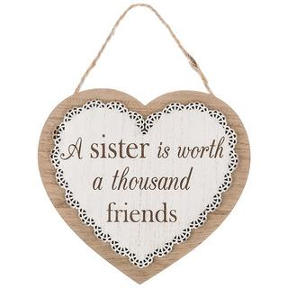 Chantilly Lace Heart plaque A Sister Is Worth A Thousand Friends Thumbnail 1