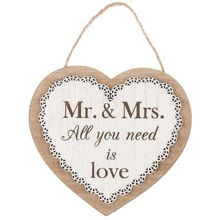 Chantilly Lace Heart Plaque Mr And Mrs All You Need Is Love Thumbnail 1