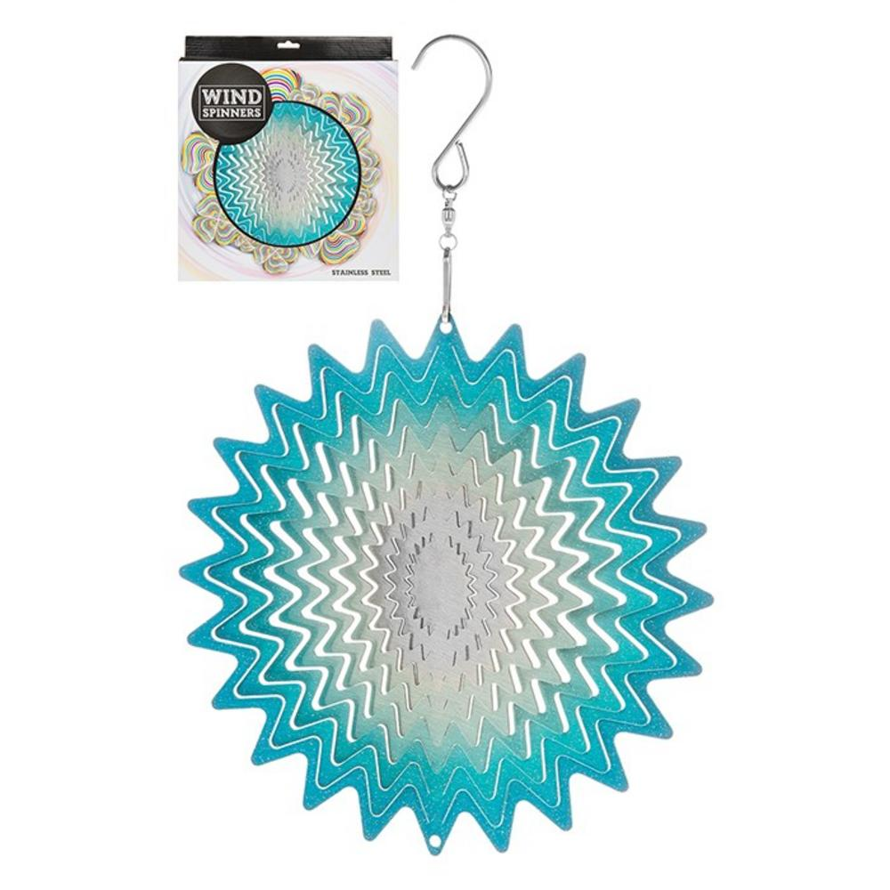 Hanging Stainless Steel Sun Catcher Wind Spinner Whirl Blue 6""