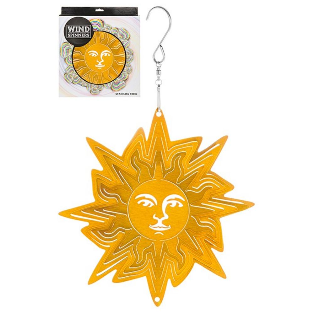 Hanging Stainless Steel Sun Catcher Wind Spinner Sun Face 6""