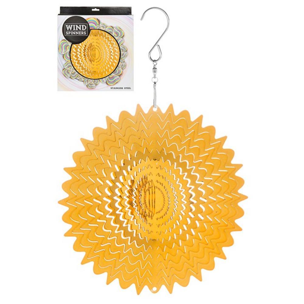 "Hanging Stainless Steel Sun Catcher Wind Spinner Gold Mirror 6"""