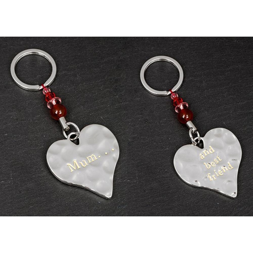 "Message ""Mum and Best Friend"" Heart Shaped Keyring"
