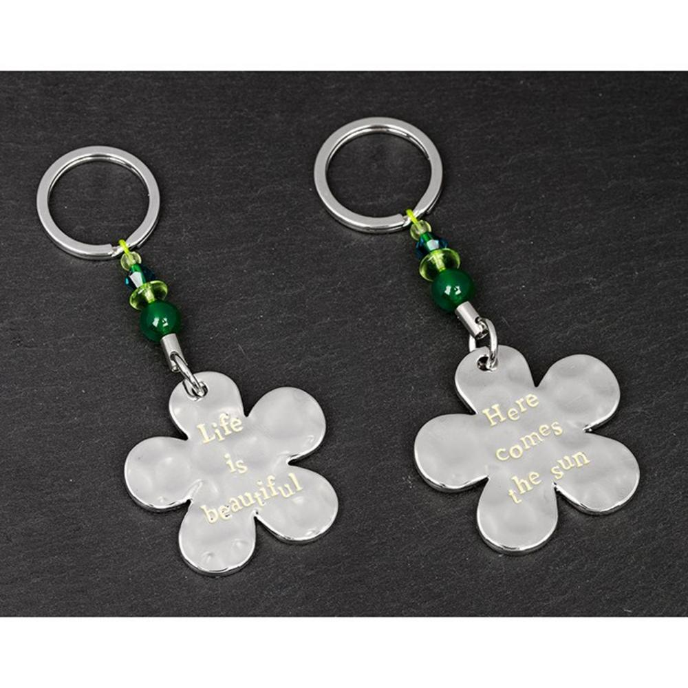 """Message """"Life is Beautiful / Here Comes the Sun"""" Flower Keyring"""