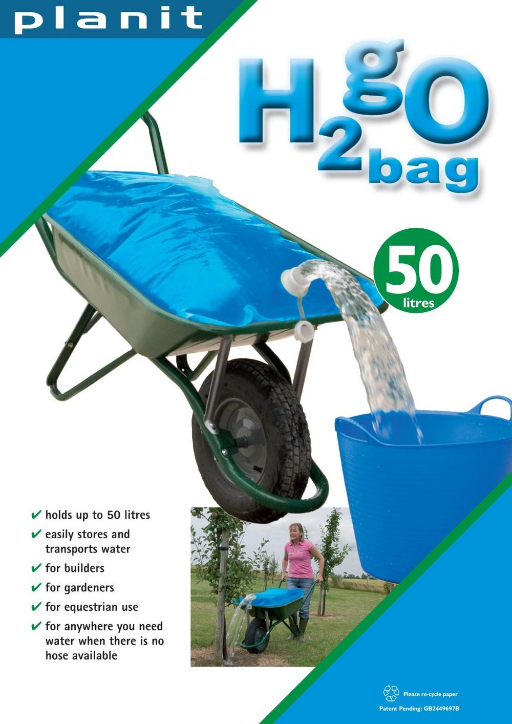 H2GO WHEELBARROW GARDEN WATER CARRIER BAG - UP TO 50 LITRES - 100 X 70CM