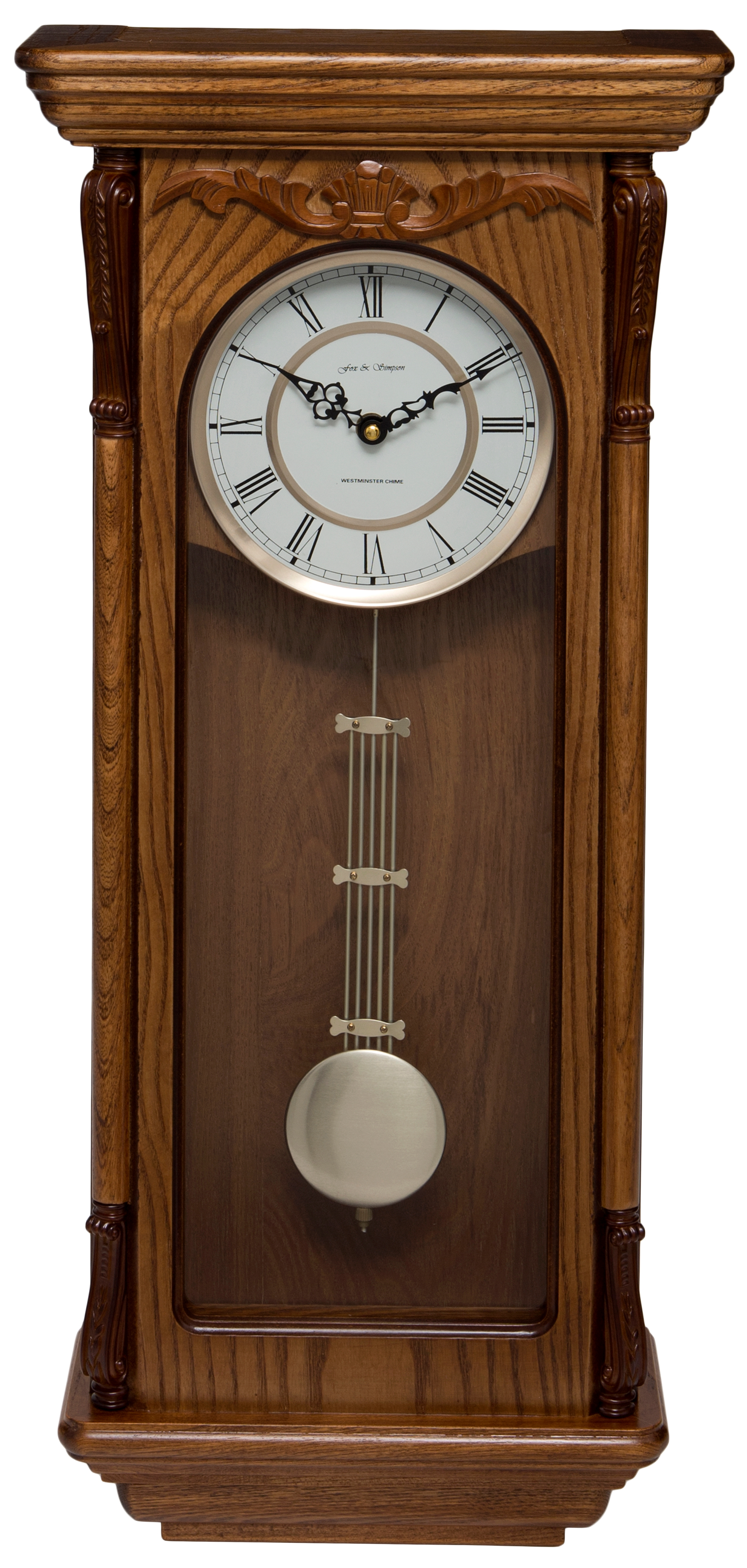 Oak Coloured Solid Wood Pendulum Wall Clock Westminster