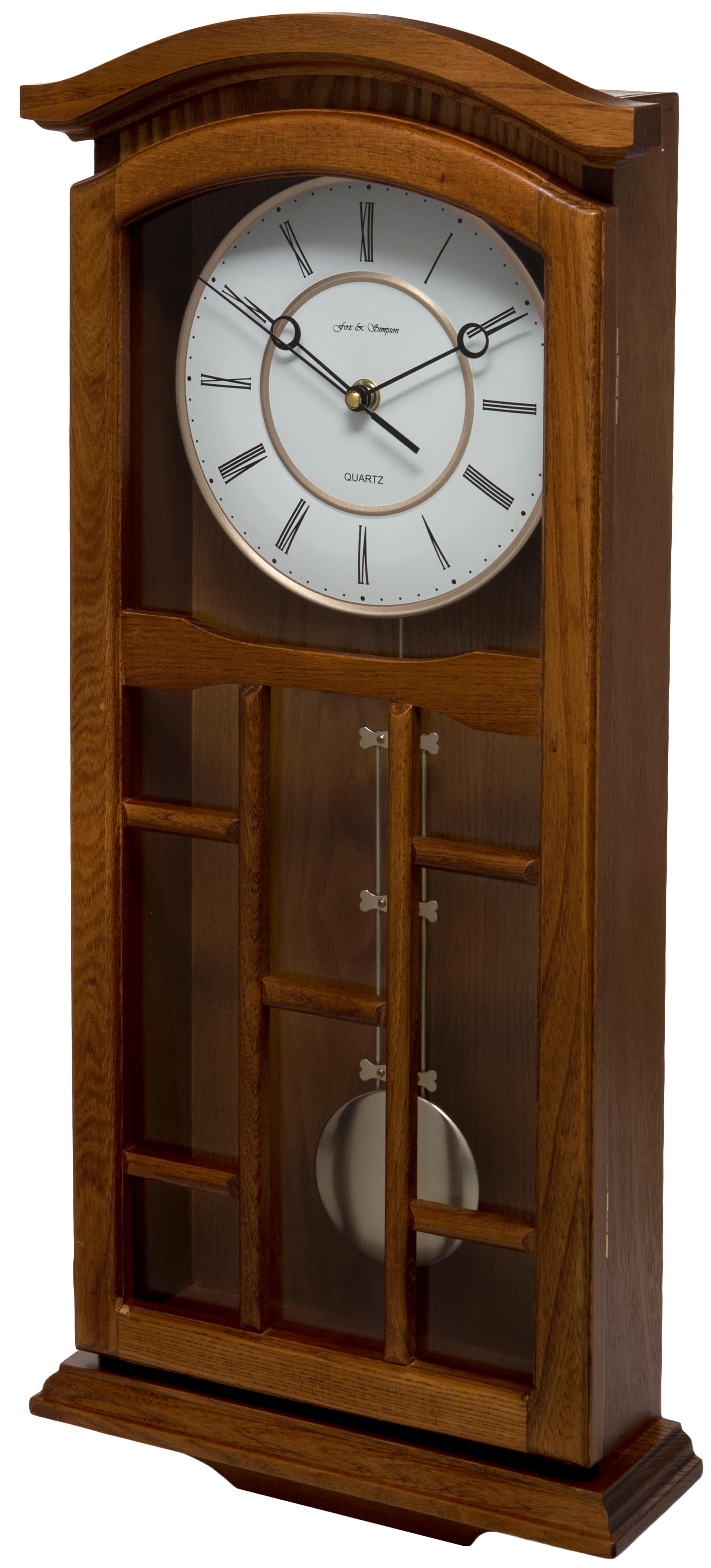 Oak Coloured Solid Wood Pendulum Wall Clock Fox And