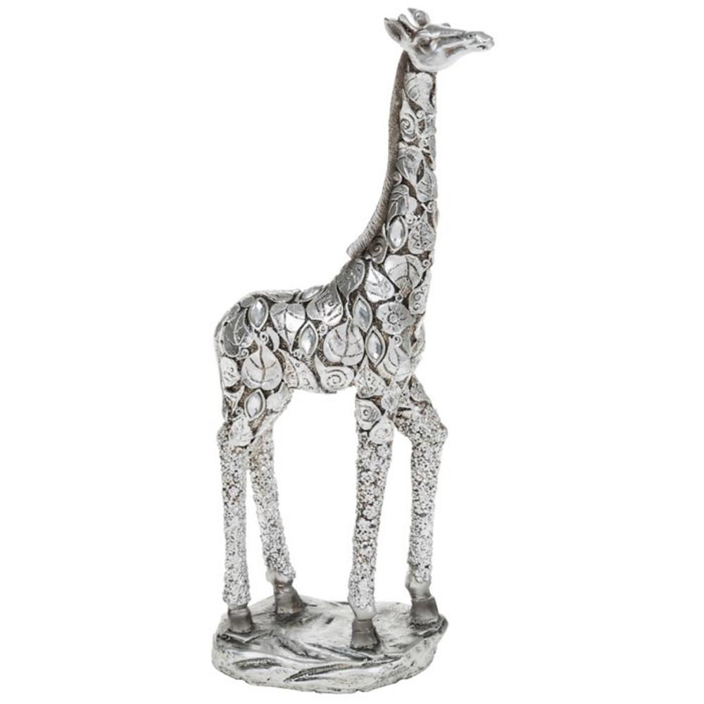 Fabulous Silver Giraffe Standing With Leave Detail Figure Ornament New & Boxed