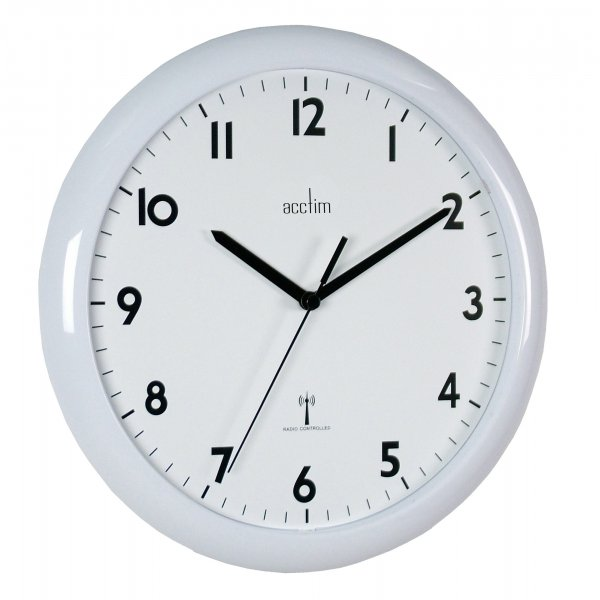 Acctim cadiz radio controlled white modern office kitchen Modern clocks for kitchen