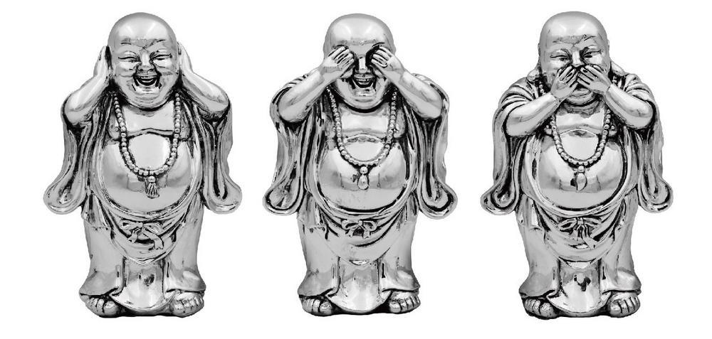 Silver Buddah Set of 3