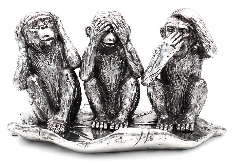Silver 3 Wise Monkies Ornament