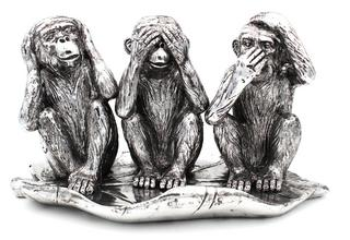 Silver 3 Wise Monkies Ornament Thumbnail 1