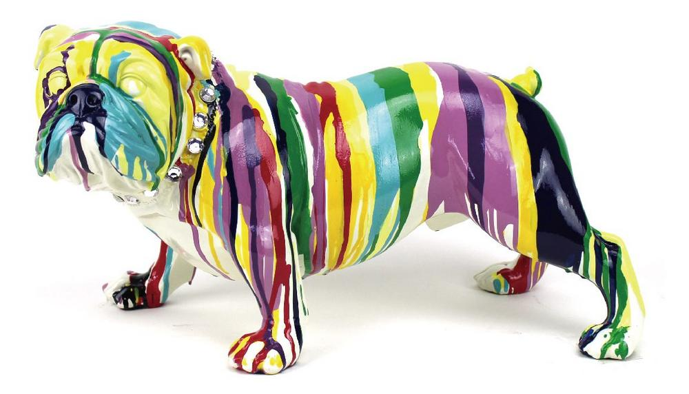 Multi Coloured Paint Dripped British Bulldog