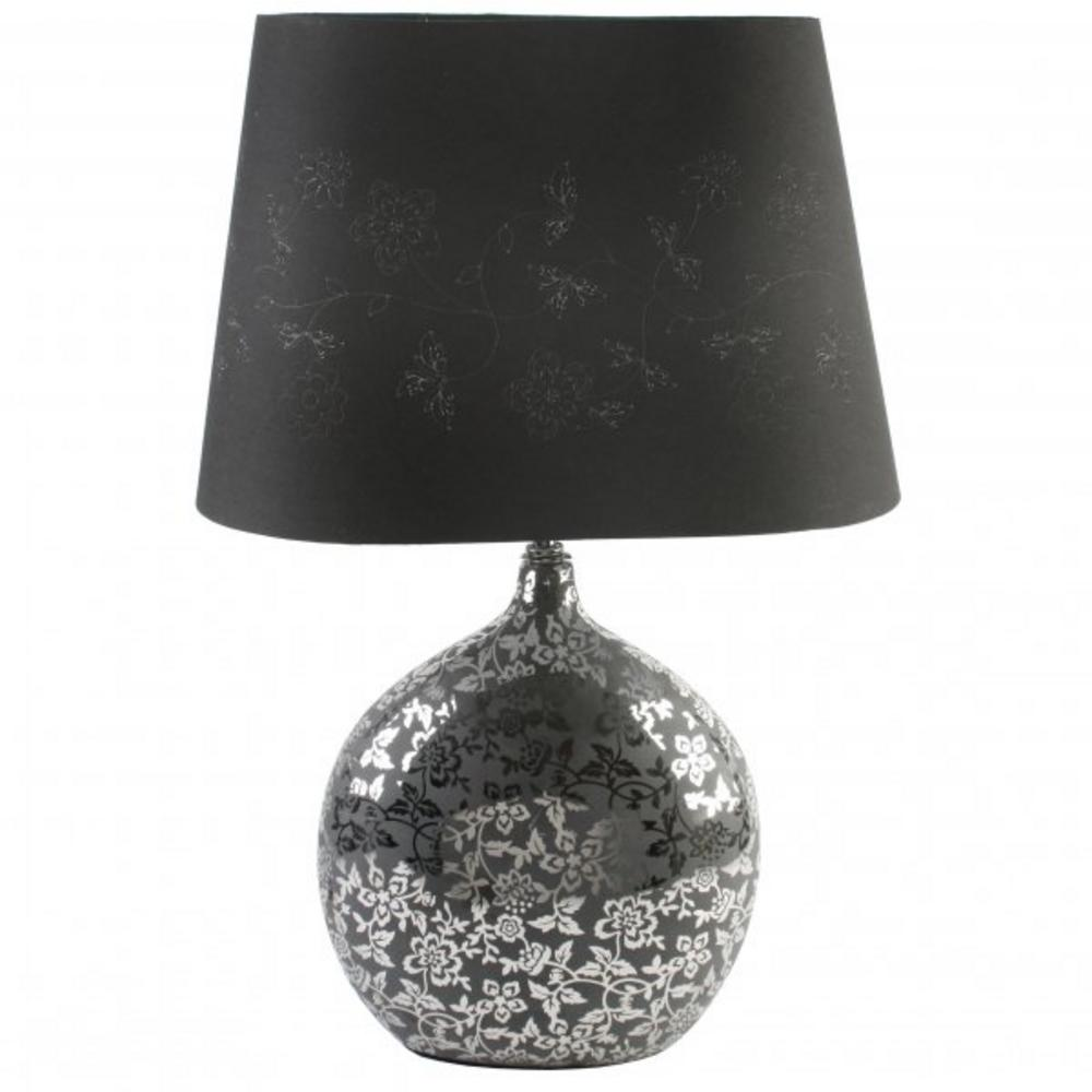 Juliana Glass Mirror Floral Design Ball Lamp With Black Lamp Shade