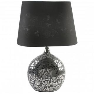 Juliana Glass Mirror Floral Design Ball Lamp With Black Lamp Shade Thumbnail 1