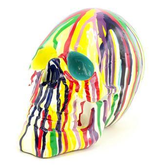Colourful Art Skull Ornament Thumbnail 1