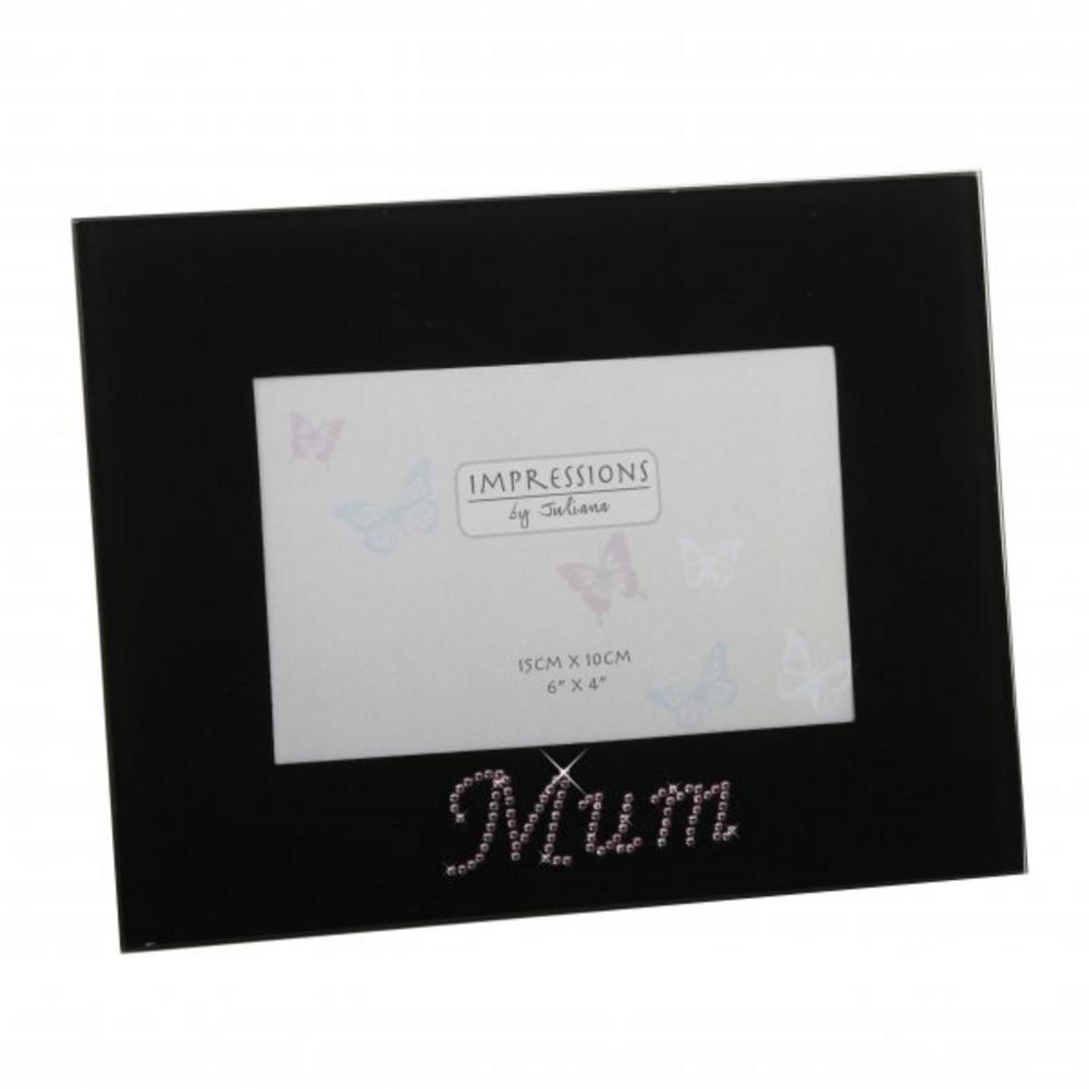 """Juliana Impressions Black Glass And Pink Crystal Picture Photo Frame 6"""" X 4"""""""