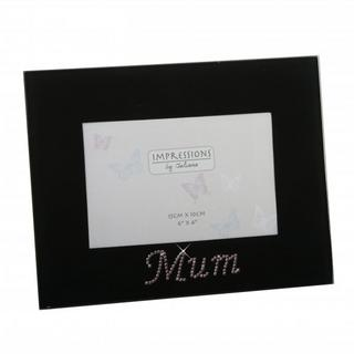 """Juliana Impressions Black Glass And Pink Crystal Picture Photo Frame 6"""" X 4"""" Thumbnail 1"""