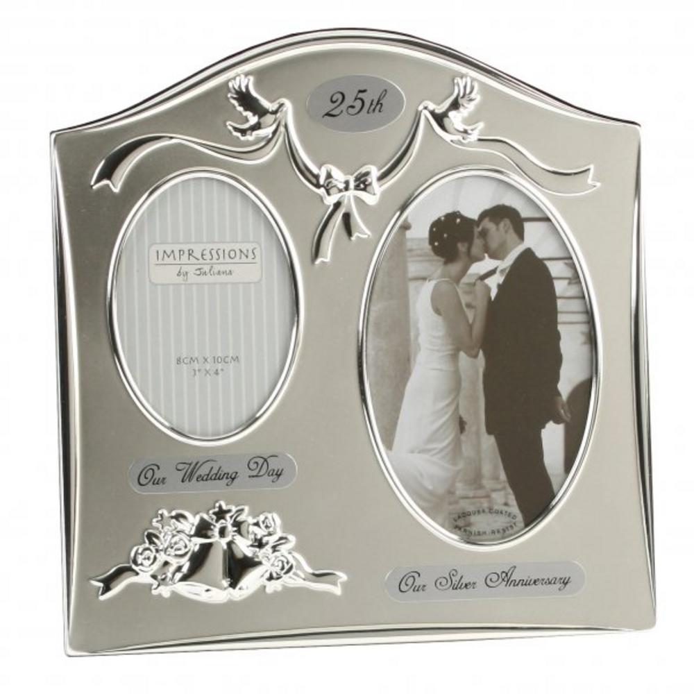 Juliana Two Tone Silver Plated 25Th Wedding Anniversary Picture Photo Frame
