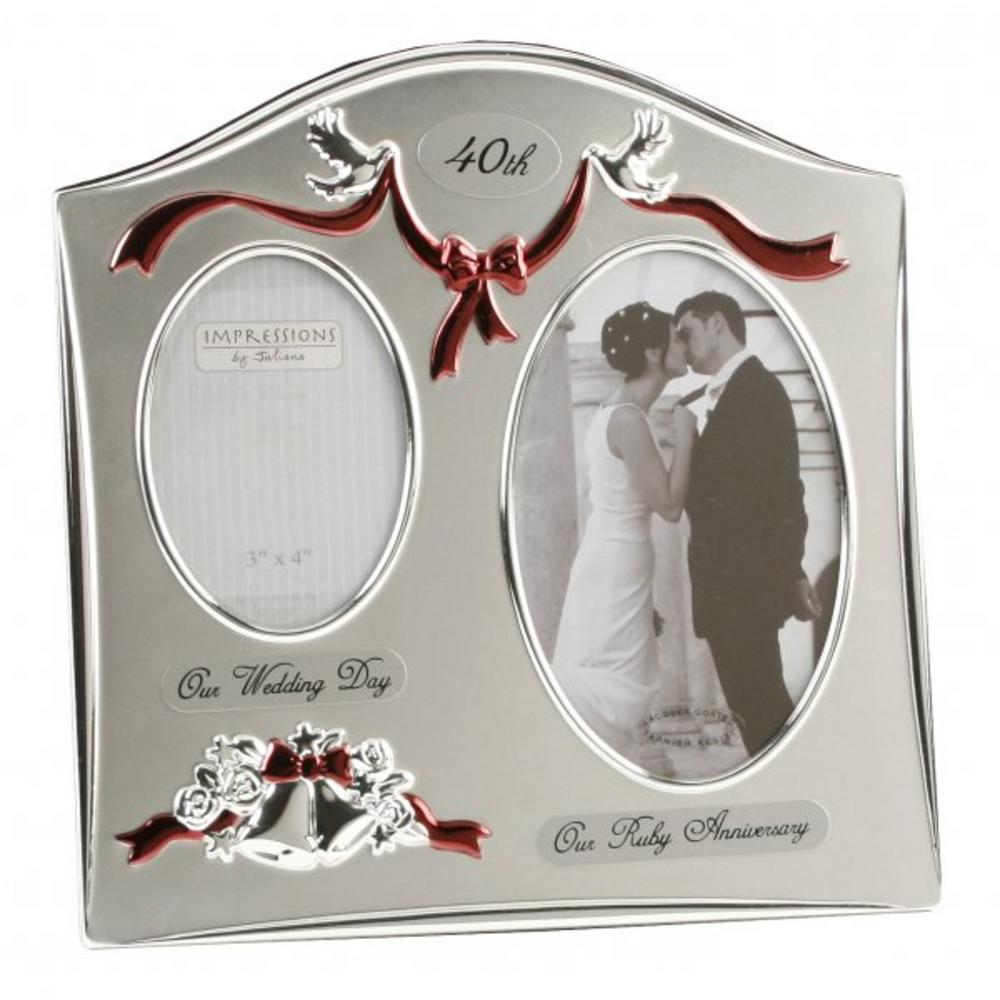 Juliana 40Th Ruby Wedding Anniversary Dual Picture Photo Frame