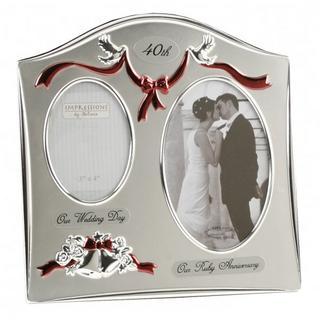 Juliana 40Th Ruby Wedding Anniversary Dual Picture Photo Frame Thumbnail 1