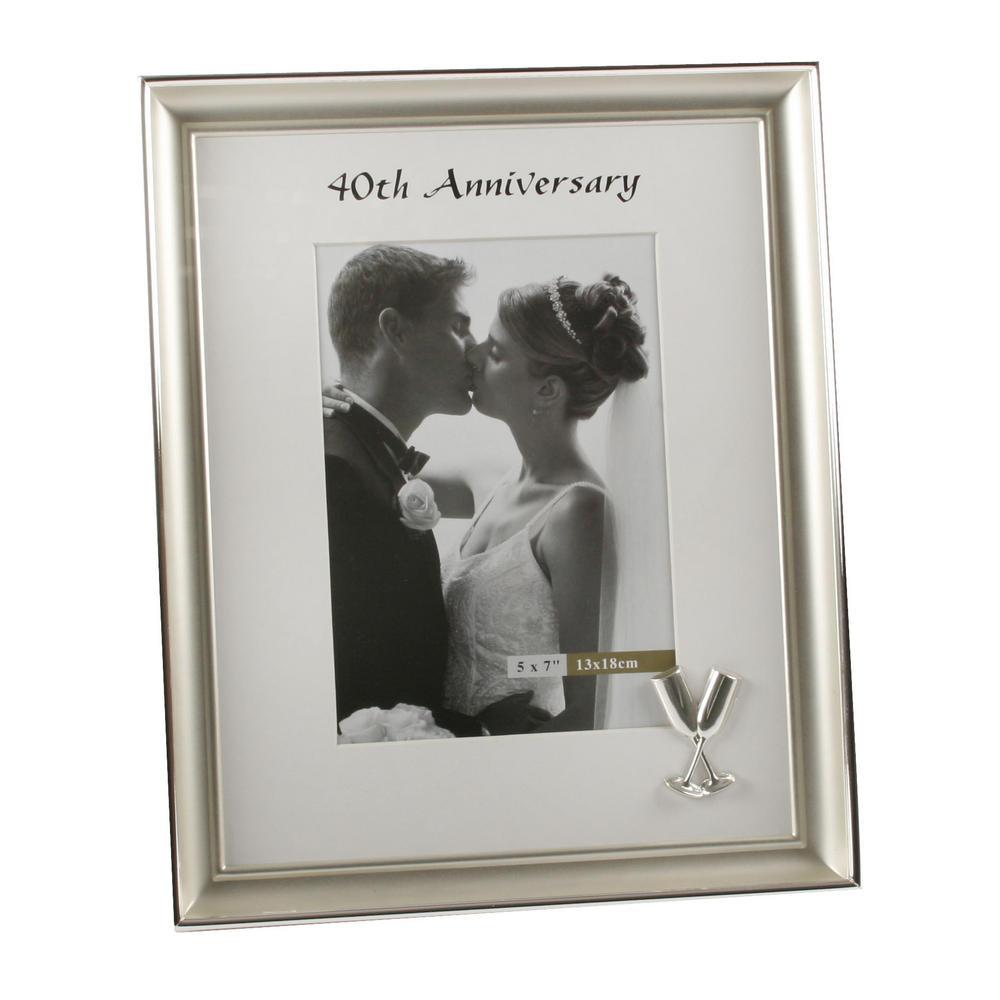 "Juliana 40Th Wedding Anniversary Flure Design Photo Frame 5"" X 7"""