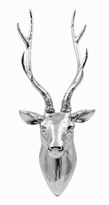 The Leonardo Collection Silver Stag Head Wall Art Figurine