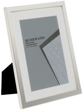 "Silver Plated White Mount Photo Frame 6"" x 8"" Thumbnail 1"