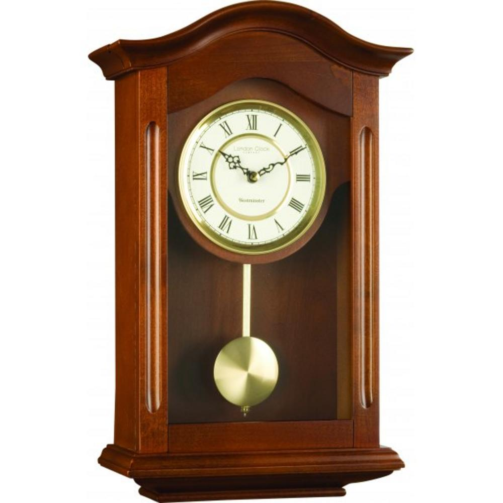 London Clock Company Walnut Finish Westminster Chime Pendulum Wall Clock