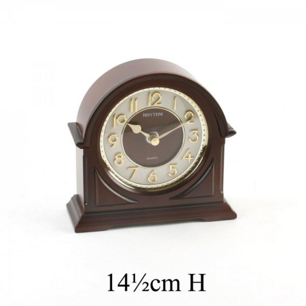 Rhythm Japan Arched Wood Mantel Clock Gold Gilt Dial