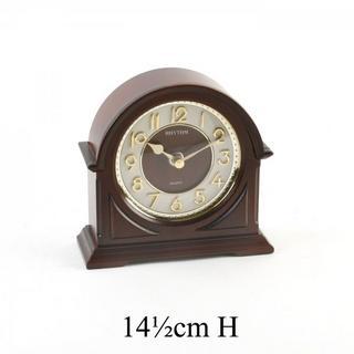 Rhythm Japan Arched Wood Mantel Clock Gold Gilt Dial Thumbnail 1