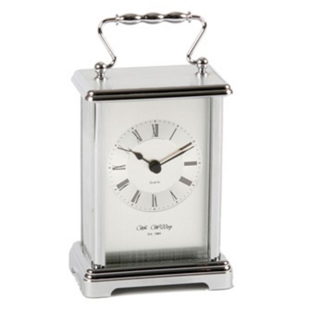 Wm Widdop Stylish Silver Colour Carriage Mantel Clock - Great Gift