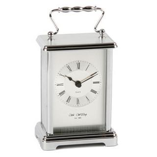 Wm Widdop Stylish Silver Colour Carriage Mantel Clock - Great Gift Thumbnail 1