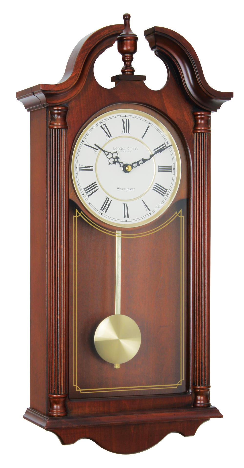 London Clock Company Mahogany Finish Westminster Chime Pendulum Wall Clock