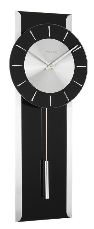 London Clock Company Designer Modern Contemporary Sleek Black Pendulum Clock Thumbnail 1