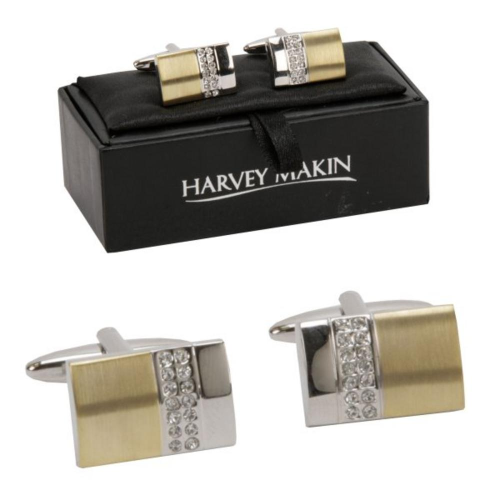 Harvey Makin Rhodium Plated Gold Diamante Cufflinks