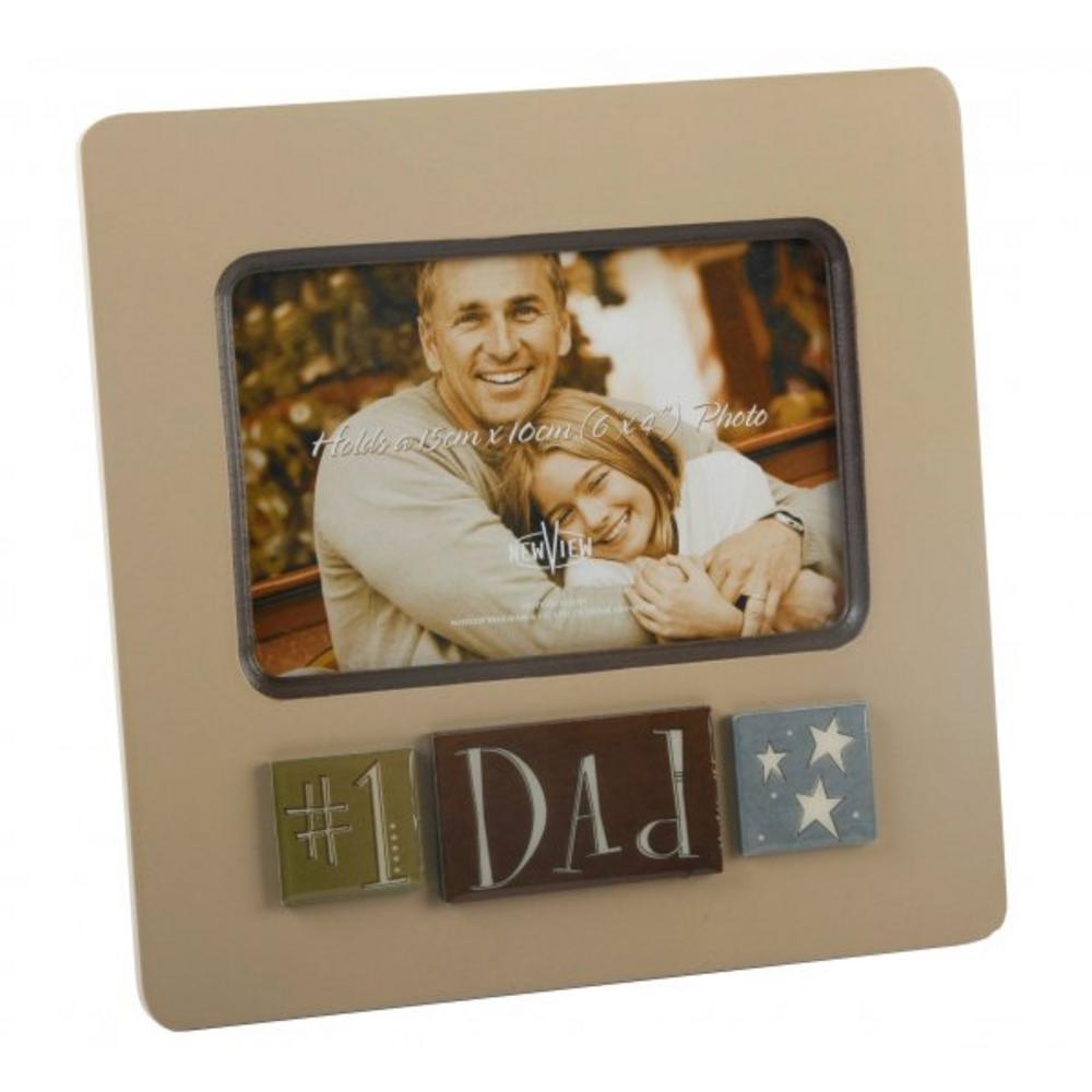 "New View Layered Number 1 Dad Photo Frame - 6"" X 4"""