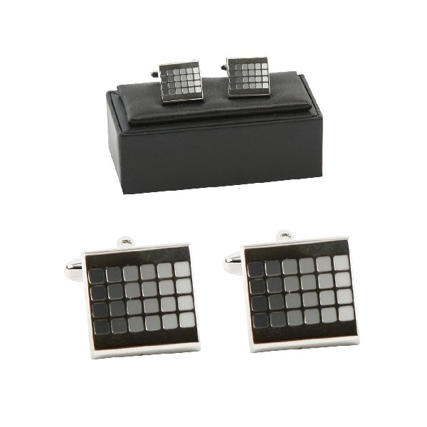 HARVEY MAKING GREY SQUARE DESIGNER MENS CUFFLINKS