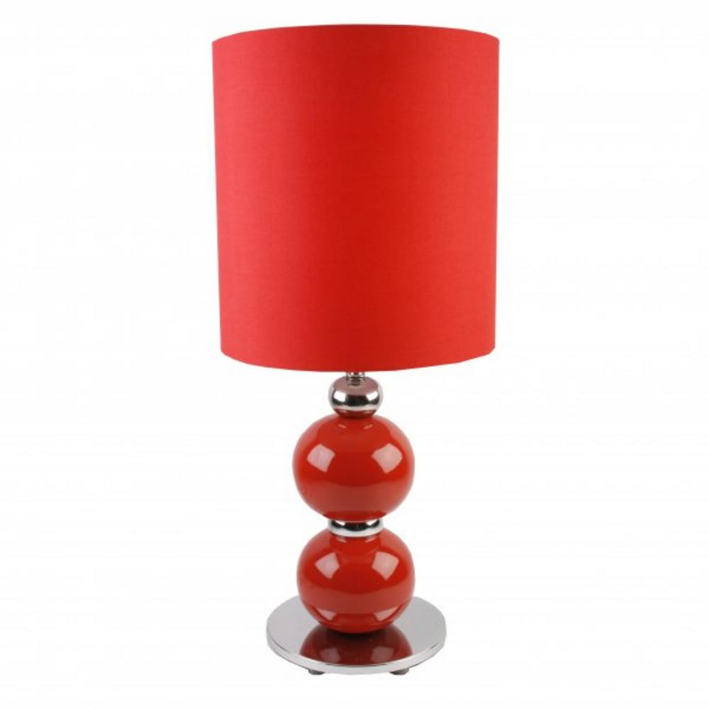 Hestia Home Living Red Ceramic Two Ball Table Lamp With Lamp Shade