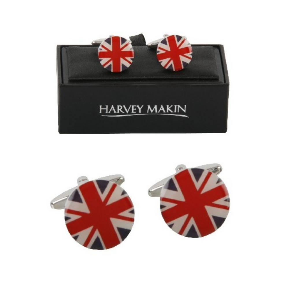 Harvey Makin Union Jack Modern Designer Mens Cufflinks