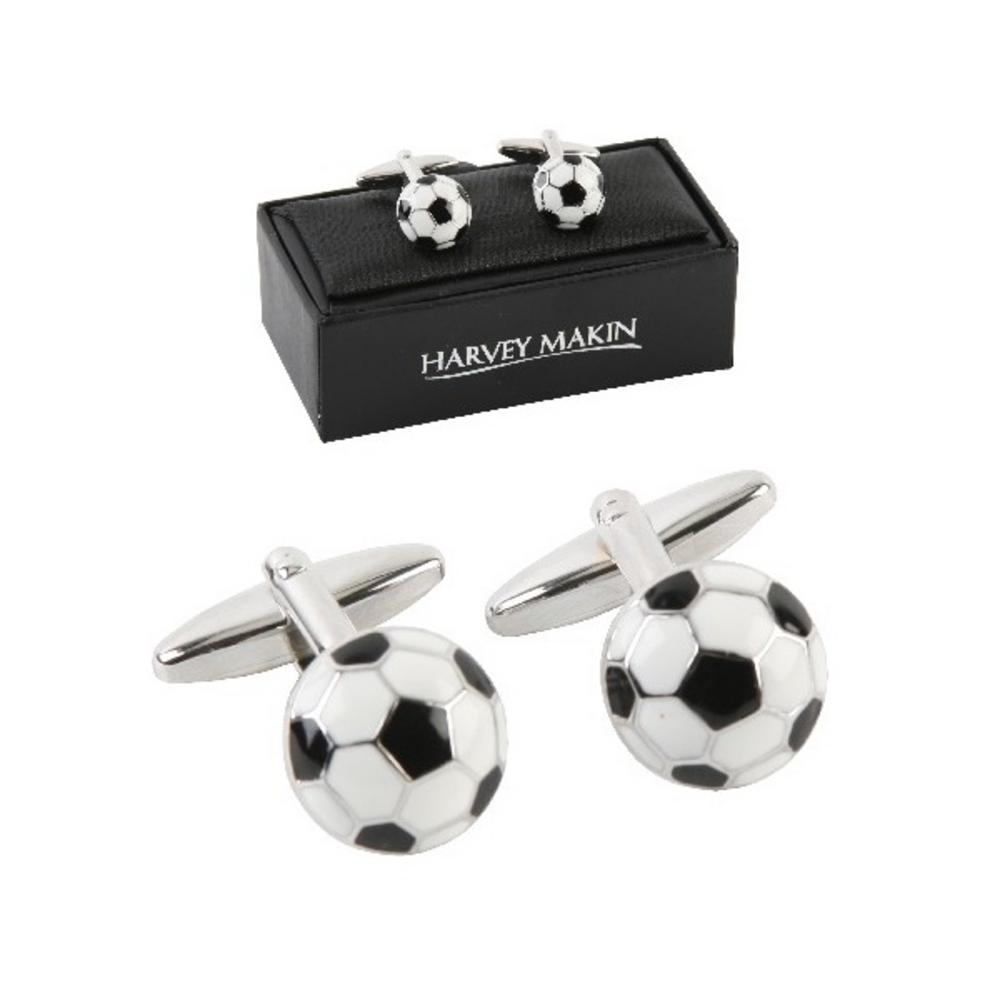 Harvey Makin Black & White Football Mens Cufflinks