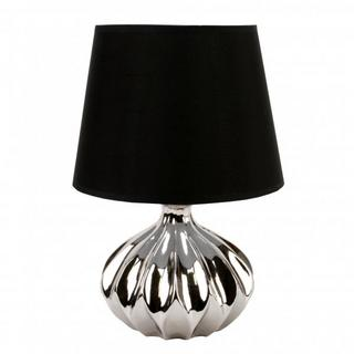 Juliana Home Living Chrome Ovel Ridge Table Lamp With Lamp Shade Thumbnail 1