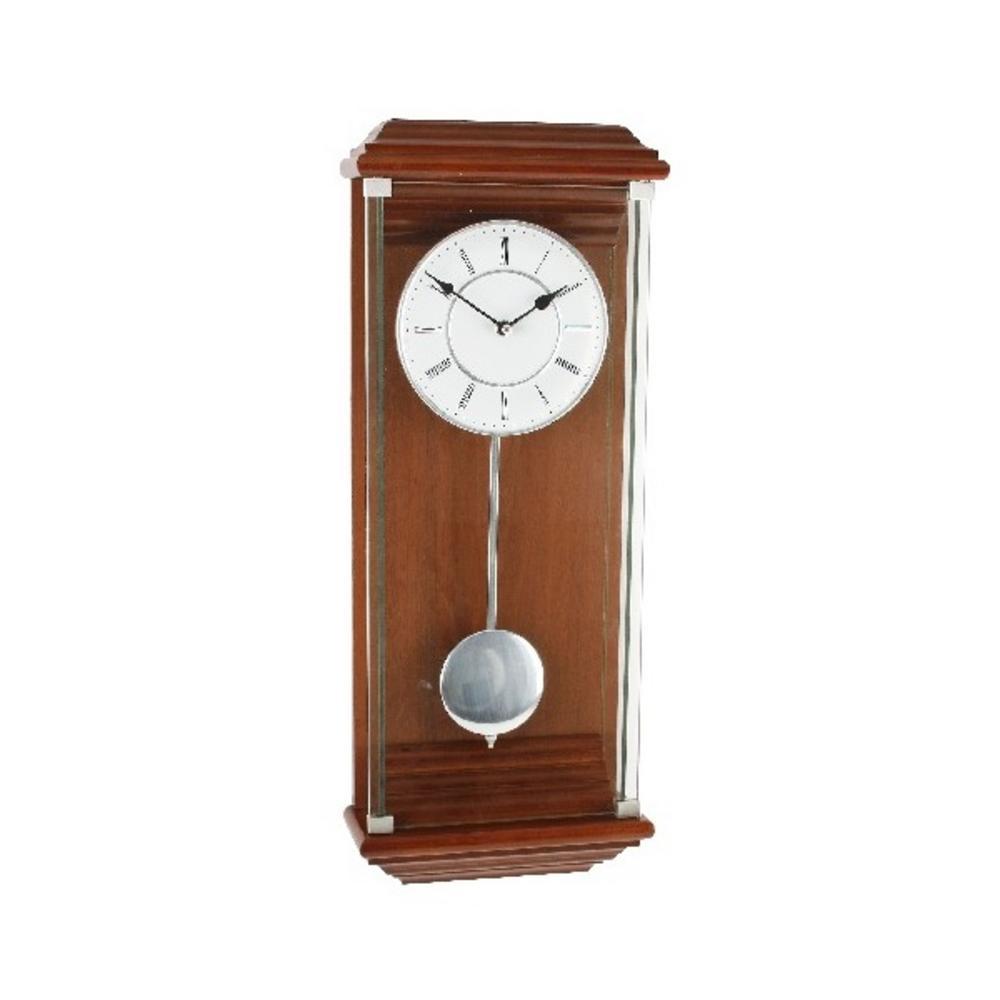 Wm Widdop Modern Walnut & Silver Pendulum Wall Clock